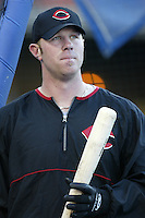Adam Dunn of the Cincinnati Reds before a 2002 MLB season game against the Los Angeles Dodgers at Dodger Stadium, in Los Angeles, California. (Larry Goren/Four Seam Images)