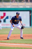 Montgomery Biscuits third baseman Michael Russell (5) during a game against the Biloxi Shuckers on May 8, 2018 at Montgomery Riverwalk Stadium in Montgomery, Alabama.  Montgomery defeated Biloxi 10-5.  (Mike Janes/Four Seam Images)