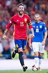 Sergio Ramos of Spain reacts during their 2018 FIFA World Cup Russia Final Qualification Round 1 Group G match between Spain and Italy on 02 September 2017, at Santiago Bernabeu Stadium, in Madrid, Spain. Photo by Diego Gonzalez / Power Sport Images