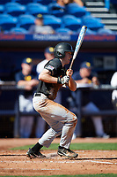 Army West Point center fielder Jacob Hurtubise (39) at bat during a game against the Michigan Wolverines on February 18, 2018 at First Data Field in St. Lucie, Florida.  Michigan defeated Army 7-3.  (Mike Janes/Four Seam Images)
