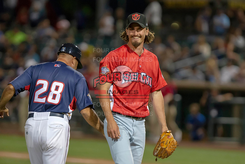 Tommy Eveld (17) of the Visalia Rawhide comes off the field after pitching against the South Division during the 2018 California League All-Star Game at The Hangar on June 19, 2018 in Lancaster, California. The North All-Stars defeated the South All-Stars 8-1.  (Donn Parris/Four Seam Images)