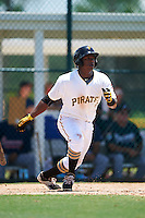 GCL Pirates third baseman Johan De Jesus (27) at bat during a game against the GCL Braves on August 10, 2016 at Pirate City in Bradenton, Florida.  GCL Braves defeated the GCL Pirates 5-1.  (Mike Janes/Four Seam Images)