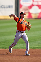 Bowie Baysox shortstop Jordan Westburg (27) throws to first base during a game against the Harrisburg Senators on September 8, 2021 at FNB Field in Harrisburg, Pennsylvania.  (Mike Janes/Four Seam Images)