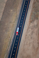 aerial photograph truck Interstate I 80 Wyoming