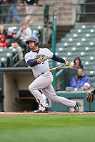 Catcher Gary Sanchez (35) of the Scranton Wilkes-Barre Railriders bats against the Rochester Red Wings on May 1, 2016 at Frontier Field in Rochester, New York. Red Wings won 1-0.  (Christopher Cecere/Four Seam Images)