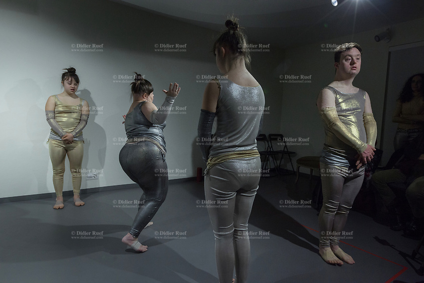 """Switzerland. Canton Ticino. Ascona. Fondazione Majid. MOPS_DanceSyndrome is an independent Swiss artistic, cultural and social organisation operating in the field of contemporary dance and disability. It is composed only of Down dancers. (Left to right). Elisabetta Montobbio, Amedea Aloisi, Gaia Mereu and Simone Lunardi on stage during """"Choreus Numinis"""" show. Down syndrome (DS or DNS), also known as trisomy 21, is a genetic disorder caused by the presence of all or part of a third copy of chromosome 21 It is usually associated with physical growth delays, mild to moderate intellectual disability, and characteristic facial features.13.02.2020 © 2020 Didier Ruef"""