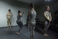 "Switzerland. Canton Ticino. Ascona. Fondazione Majid. MOPS_DanceSyndrome is an independent Swiss artistic, cultural and social organisation operating in the field of contemporary dance and disability. It is composed only of Down dancers. (Left to right). Elisabetta Montobbio, Amedea Aloisi, Gaia Mereu and Simone Lunardi on stage during ""Choreus Numinis"" show. Down syndrome (DS or DNS), also known as trisomy 21, is a genetic disorder caused by the presence of all or part of a third copy of chromosome 21 It is usually associated with physical growth delays, mild to moderate intellectual disability, and characteristic facial features.13.02.2020 © 2020 Didier Ruef"