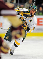 9 January 2009: University of Vermont Catamounts' forward Corey Carlson, a Senior from Two Harbors, MN, in action during the first game of a weekend series against the Boston College Eagles at Gutterson Fieldhouse in Burlington, Vermont. The Catamounts scored with one second remaining in regulation time to earn a 3-3 tie with the visiting Eagles. Mandatory Photo Credit: Ed Wolfstein Photo