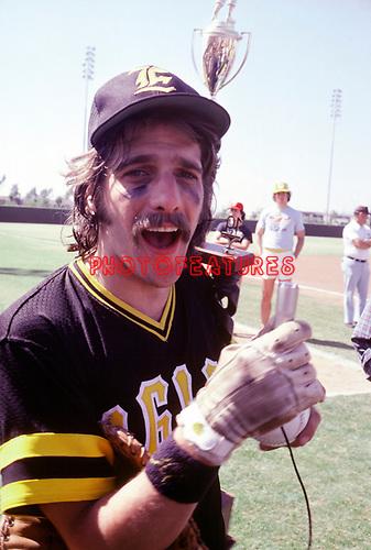 The Eagles 1978 Glenn Frey celebrates at Eagles vs Rolling Stone Mag softball game.