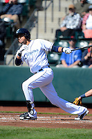 Columbus Clippers shortstop Juan Diaz #13 during a game against the Toledo Mudhens on April 22, 2013 at Huntington Park in Columbus, Ohio.  Columbus defeated Toledo 3-0.  (Mike Janes/Four Seam Images)