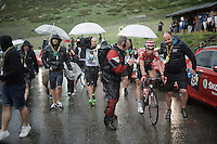 Thomas De Gendt (BEL/Lotto-Soudal) being flash-interviewed by Sporza commentator Carl Berteele after finishing stage 9 in Andorra Arcalis (coming from Velha Val d'Aran/ESP, 184km)<br /> <br /> 103rd Tour de France 2016