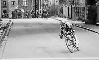 Tim Wellens (BEL/Lotto-Soudal) tries to break away from the leading group in the city streets of Seraign with less then 10km to go.<br /> <br /> 103rd Liège-Bastogne-Liège 2017 (1.UWT)<br /> One Day Race: Liège › Ans (258km)