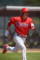 Philadelphia Phillies center fielder Mickey Moniak (15) during a minor league Spring Training game against the Pittsburgh Pirates on March 24, 2017 at Carpenter Complex in Clearwater, Florida.  (Mike Janes/Four Seam Images)
