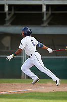 Princeton Rays shortstop Wander Franco (6) flies out during the first game of a doubleheader against the Johnson City Cardinals on August 17, 2018 at Hunnicutt Field in Princeton, Virginia.  Johnson City defeated Princeton 6-4.  (Mike Janes/Four Seam Images)
