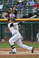 Roberto Lopez (30) of the Salt Lake Bees at bat against the Reno Aces at Smith's Ballpark on May 5, 2014 in Salt Lake City, Utah.  (Stephen Smith/Four Seam Images)