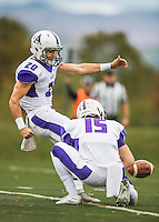 8 October 2016: Amherst College Purple & White Defensive Back John Rak, a Sophomore from Los Altos, CA, kicks a point-after conversion during a game against the Middlebury College Panthers at Alumni Stadium in Middlebury, Vermont. The Panthers edged out the Purple & While 27-26. Mandatory Credit: Ed Wolfstein Photo *** RAW (NEF) Image File Available ***