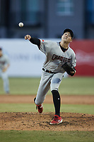 Hickory Crawdads relief pitcher Tai Tiedemann (23) in action against the Greensboro Grasshoppers at First National Bank Field on May 6, 2021 in Greensboro, North Carolina. (Brian Westerholt/Four Seam Images)