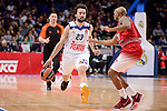 Real Madrid's Sergio Llull and EA7 Emporio Armani Milan's Ricky Hickman during Turkish Airlines Euroleage match between Real Madrid and EA7 Emporio Armani Milan at Wizink Center in Madrid, Spain. January 27, 2017. (ALTERPHOTOS/BorjaB.Hojas)