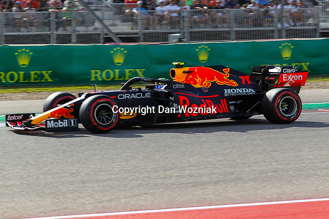 Racing Point BWT Mercedes driver Sergio Perez (11) of Team Mexico in action during the Formula 1 Aramco United States Grand Prix practice session held at the Circuit of the Americas racetrack in Austin,Texas.