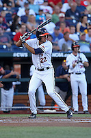 Daniel Pinero #22 of the Virginia Cavaliers bats during Game 4 of the 2014 Men's College World Series between the Virginia Cavaliers and Ole Miss Rebels at TD Ameritrade Park on June 15, 2014 in Omaha, Nebraska. (Brace Hemmelgarn/Four Seam Images)