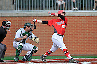 Third baseman Tyler Blind (21) of the Fairfield Stags bats in a game against the Charlotte 49ers on Saturday, March 12, 2016, at Hayes Stadium in Charlotte, North Carolina. The 49ers catcher is Nick Daddio and the home plate umpire is Brad Newton. (Tom Priddy/Four Seam Images)
