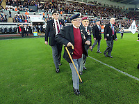 Sunday 09 November 2014 <br /> Pictured: War veterans with members of the armed forces<br /> Re: Barclays Premier League, Swansea City FC v Arsenal City at the Liberty Stadium, Swansea, Great Britain.