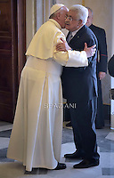 Pope Francis during a meeting Palestinian authority President Mahmud Abbas   on May 16, 2015 in Vatican.