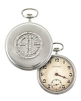 BNPS.co.uk (01202 558833)<br /> Pic: SheldonCarpenter/Witherell'sInc/BNPS<br /> <br /> Pictured: Al Capone's platinum and diamond Patek Philippe pocket watch, estimated to sell for £35,000, sold for £168,876 ($229,900).<br /> <br /> An incredible treasure trove of Al Capone heirlooms have sold at auction for a whopping £2.3m. ($3.1m)<br /> <br /> The star lot was the notorious American gangster's favourite gun - a 1911 Colt semi-automatic pistol, which was expected to fetch £110,000 but sold for an incredible £764,000. ($1.04m)<br /> <br /> The remarkable collection, sold by his granddaughters, included personalised jewellery, photographs and furniture and a letter written to his only child Sonny from Alcatraz Prison, which showed a tender side to the ruthless crime boss.
