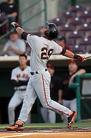Joe Panik #29 of the San Jose Giants bats against the Inland Empire 66'ers at San Manuel Stadium on June 11, 2012 in San Bernardino,California.Inland Empire defeated San Jose 12-8.(Larry Goren/Four Seam Images)