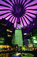 Berlin Germany- 2008 File Photo -<br /> Sony Center at night,  Potsdamer Platz.<br /> <br /> The Sony Center is a Sony-sponsored building complex located at the Potsdamer Platz in Berlin, Germany. It opened in 2000.<br /> <br /> The site was originally a bustling city center in the early 20th Century. After World War II, the area suffered a sharp decline and was eventually left abandoned. As part of a redevelopment effort for the area, the center was constructed. The centre was designed by Helmut Jahn and construction was completed in 2000 at a total cost of US$800M (approximately EU???860M). In February 2008 Sony sold Berlin's Sony Center for less than EU???600M (approximately US$880M) to a group of German and US investment funds, including investment bank Morgan Stanley, Corpus Sireo and an affiliate of The John Buck Company [1].