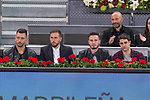 Jan Oblak, Saul Iniguez of Atletico de Madrid during the Mutua Madrid Open Tennis 2017 at Caja Magica in Madrid, May 12, 2017. Spain.