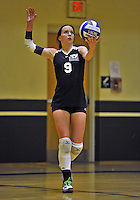 14 October 2012: St. Joseph's College Bears' Kim Matthews, a Senior from Breezy Point, NY, in action against the Yeshiva University Maccabees at Culinary Institute of America in Hyde Park, NY. The Lady Bears defeated the Maccabees 3-0 in NCAA non-divisional volleyball play. Mandatory Credit: Ed Wolfstein Photo