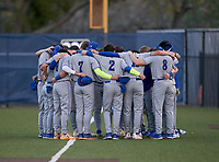 Lakeland Christian Vikings team huddle before a game against the Calvary Christian Warriors on February 27, 2021 at Calvary Christian High School in Clearwater, Florida.  (Mike Janes/Four Seam Images)