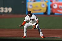 SAN FRANCISCO, CA - SEPTEMBER 25:  Evan Longoria #10 of the San Francisco Giants plays defense at third base against the San Diego Padres during the first game of a doubleheader at Oracle Park on Friday, September 25, 2020 in San Francisco, California. (Photo by Brad Mangin)
