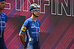 João Almeida (POR) Deceuninck-Quick Step at sign on before the start of Stage 20 of the 2021 Giro d'Italia, running 164km from Verbania to Valle Spluga-Alpe Motta, Italy. 29th May 2021.  <br /> Picture: LaPresse/Marco Alpozzi   Cyclefile<br /> <br /> All photos usage must carry mandatory copyright credit (© Cyclefile   LaPresse/Marco Alpozzi)