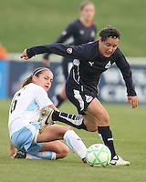 Lisa De Vanna of the Washington Freedom breaks past Brittany Klein of the Chicago Red Stars during a WPS match at Maryland Soccerplex on April 11 2009, in Boyd's, Maryland.  The game ended in a 1-1 tie.