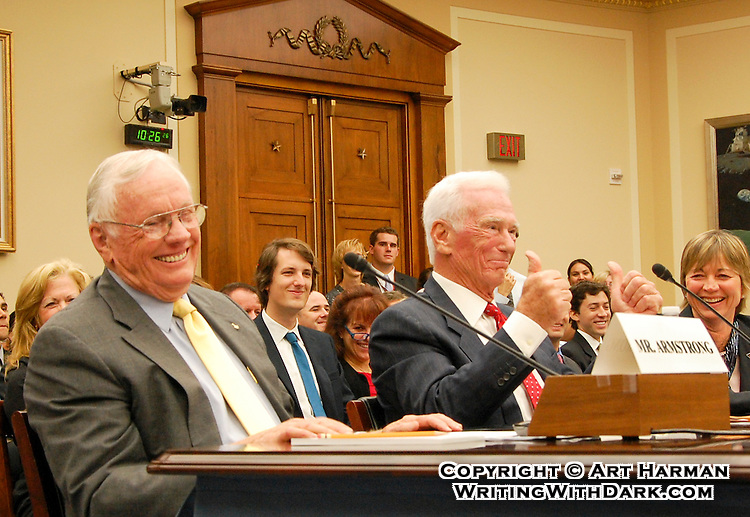 Apollo astronauts Neil Armstrong and Gene Cernan testifying before Congress. Apollo 11 and 17. By art Harman. I caught this great moment of humor at what would become Neil Armstrong's last appearance before Congress.