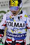 Marcel HIRSCHER competes during the FIS Alpine Ski World Cup Men's Slalom in Madonna di Campiglio, on December 22, 2015. Norway's Henrik Kristoffersen wins ahead of Marcel Hirscher and Marco Schwarz.