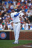 Chicago Cubs third baseman Kris Bryant (17) on deck during a game against the Milwaukee Brewers on August 13, 2015 at Wrigley Field in Chicago, Illinois.  Chicago defeated Milwaukee 9-2.  (Mike Janes/Four Seam Images)