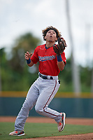 GCL Twins second baseman Jim Caceres (5) catches a popup during a Gulf Coast League game against the GCL Pirates on August 6, 2019 at Pirate City in Bradenton, Florida.  GCL Twins defeated the GCL Pirates 1-0 in the second game of a doubleheader.  (Mike Janes/Four Seam Images)