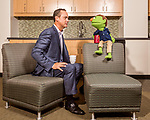 August 24, 2017. Charlotte, NC.<br /> <br /> Doug Lebda is the founder and CEO of Lending Tree. He is seen here with the company mascot, spokesman and star of their commercials, Lenny.