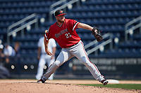 Rochester Red Wings relief pitcher Aaron Barrett (22) in action against the Scranton/Wilkes-Barre RailRiders at PNC Field on July 25, 2021 in Moosic, Pennsylvania. (Brian Westerholt/Four Seam Images)