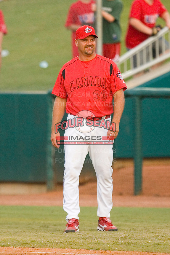 First base coach Larry Walker #33 of Team Canada at the USA Baseball National Training Center, September 4, 2009 in Cary, North Carolina.  (Photo by Brian Westerholt / Four Seam Images)