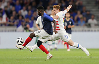 Lyon, France - Saturday June 09, 2018: Samuel Umtiti, Josh Sargent during an international friendly match between the men's national teams of the United States (USA) and France (FRA) at Groupama Stadium.