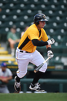 Bradenton Marauders third baseman Wyatt Mathisen (15) at bat during a game against the St. Lucie Mets on April 12, 2015 at McKechnie Field in Bradenton, Florida.  Bradenton defeated St. Lucie 7-5.  (Mike Janes/Four Seam Images)
