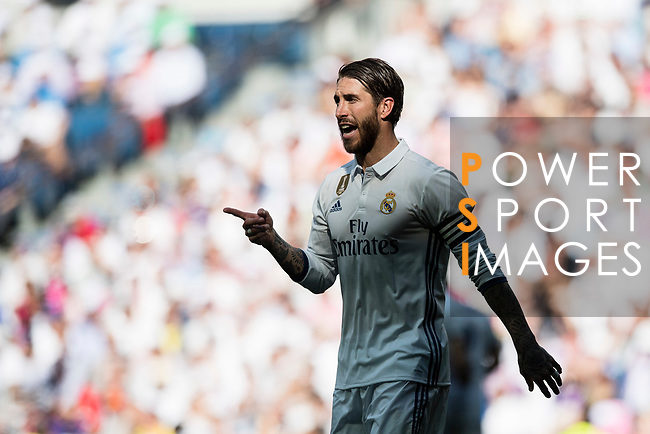 Sergio Ramos of Real Madrid in action during their La Liga match between Real Madrid and Atletico de Madrid at the Santiago Bernabeu Stadium on 08 April 2017 in Madrid, Spain. Photo by Diego Gonzalez Souto / Power Sport Images