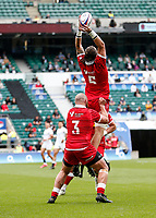 10th July 2021; Twickenham, London, England; International Rugby Union England versus Canada; Conor Keys of Canada taking the ball high at kick off