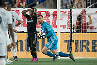 FOXBOROUGH, MA - AUGUST 4: Latif Blessing #7 of Los Angeles FC shows his disappointment after a save by Matt Turner #30 of New England Revolution during a game between Los Angeles FC and New England Revolution at Gillette Stadium on August 3, 2019 in Foxborough, Massachusetts.