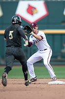 Mississippi State Bulldogs shortstop Jordan Westburg (11) catches the ball at second during Game 8 of the NCAA College World Series against the Auburn Tigers on June 16, 2019 at TD Ameritrade Park in Omaha, Nebraska. Mississippi State defeated Auburn 5-4 6-3. (Andrew Woolley/Four Seam Images)