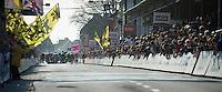 crash in the sprinting peloton..74th Gent-Wevelgem (2012).236km between Deinze & Wevelgem.winner 2012: Tom Boonen..